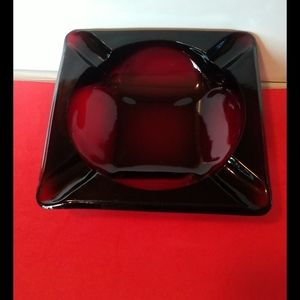 Ruby Red Glass ashtray vintage